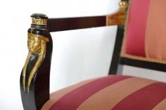 Pair of Italian Neoclassic Ebonized and Parcel Gilt Armchairs - 391190