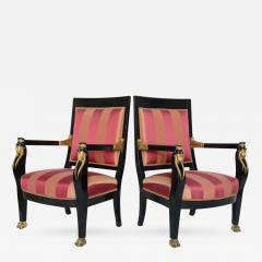 Pair of Italian Neoclassic Ebonized and Parcel Gilt Armchairs - 397661