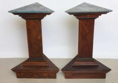 Pair of Italian Neoclassic Faux Bois and Faux Marble Painted Pedestals - 60920