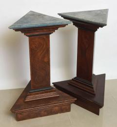 Pair of Italian Neoclassic Faux Bois and Faux Marble Painted Pedestals - 60921