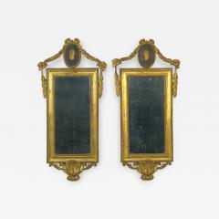 Pair of Italian Neoclassical Antique Giltwood Mirrors Looking Glasses 19th C  - 1091679