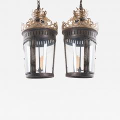 Pair of Italian Reproduction Iron and Gilt Lanterns - 2052422