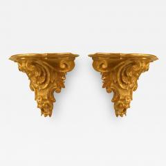 Pair of Italian Rococo Gilt Wall Shelves - 1389947