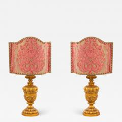 Pair of Italian Rococo Style Gilt Table Lamps - 1393950