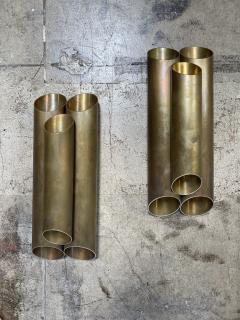 Pair of Italian Sconces Tubolari Full Brass 1940s - 2007832