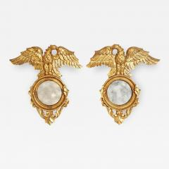 Pair of Italian neoclassic Giltwood Mirrors with Eagles Wings Outstretched - 2012977