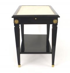 Pair of Jansen Ebonized White Leather Top End Tables - 1379012