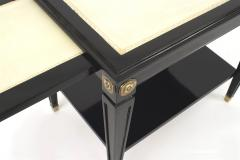 Pair of Jansen Ebonized White Leather Top End Tables - 1379014