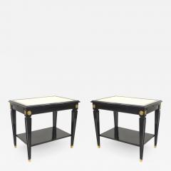 Pair of Jansen Ebonized White Leather Top End Tables - 1383697