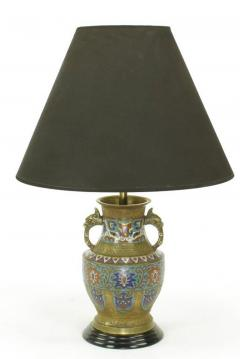 Pair of Japanese Brass Champlev Cloisonn Urn Form Table Lamps - 277030