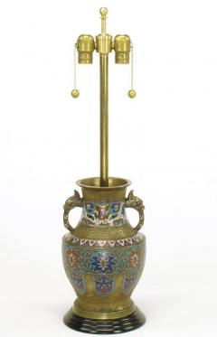 Pair of Japanese Brass Champlev Cloisonn Urn Form Table Lamps - 277033