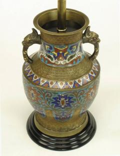 Pair of Japanese Brass Champlev Cloisonn Urn Form Table Lamps - 277036