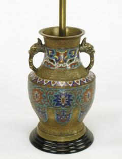 Pair of Japanese Brass Champlev Cloisonn Urn Form Table Lamps - 277037
