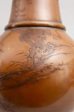 Pair of Japanese Large Bronze Vases with Turtles and Cranes - 1320029