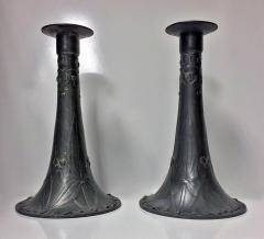 Pair of Kayserzinn Pewter Candlesticks Germany C 1900 - 230972