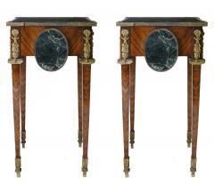 Pair of Kingwood bronze dor marble mounted side Louis XVI tables - 2042026