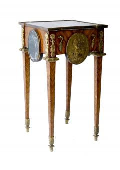 Pair of Kingwood bronze dor marble mounted side Louis XVI tables - 2042027