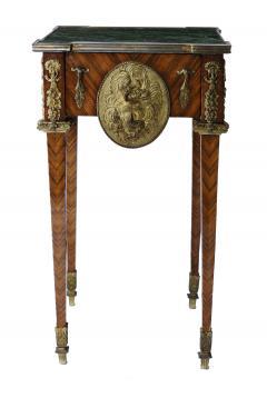 Pair of Kingwood bronze dor marble mounted side Louis XVI tables - 2042028