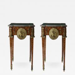 Pair of Kingwood bronze dor marble mounted side Louis XVI tables - 2044186