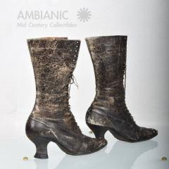 Pair of Ladies Victorian High Top Leather Boots - 365988