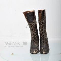 Pair of Ladies Victorian High Top Leather Boots - 365989