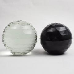 Pair of Large 19th Century Victorian Faceted Cut Glass Ball Paperweights - 2065708