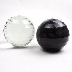 Pair of Large 19th Century Victorian Faceted Cut Glass Ball Paperweights - 2065709