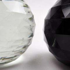 Pair of Large 19th Century Victorian Faceted Cut Glass Ball Paperweights - 2065710