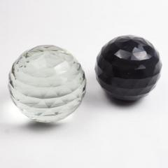 Pair of Large 19th Century Victorian Faceted Cut Glass Ball Paperweights - 2065713