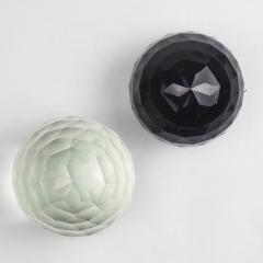 Pair of Large 19th Century Victorian Faceted Cut Glass Ball Paperweights - 2065714
