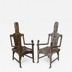 Pair of Large African Rootwood Armchairs Late 19th Early 20th Century - 375439