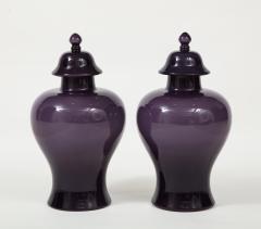Pair of Large Aubergine Glass Lidded Ginger Jars  - 1964393