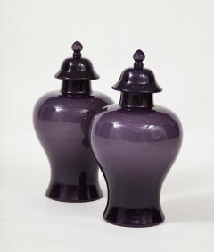 Pair of Large Aubergine Glass Lidded Ginger Jars  - 1964394