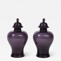 Pair of Large Aubergine Glass Lidded Ginger Jars  - 1966500