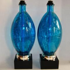 Pair of Large Blue Glass Lamps - 658924