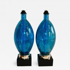 Pair of Large Blue Glass Lamps - 661038