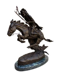 Pair of Large Bronze Table Sculptures with Marble after Frederic Remington - 1749405
