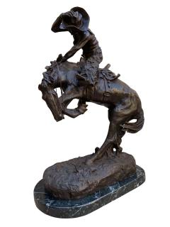 Pair of Large Bronze Table Sculptures with Marble after Frederic Remington - 1749408