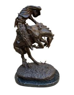 Pair of Large Bronze Table Sculptures with Marble after Frederic Remington - 1749411