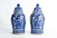 Pair of Large Contemporary Blue and White Ceramic Jars with Lids - 1224949