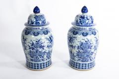 Pair of Large Contemporary Blue and White Ceramic Jars with Lids - 1226188