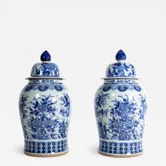 Pair of Large Contemporary Blue and White Ceramic Jars with Lids - 1226726