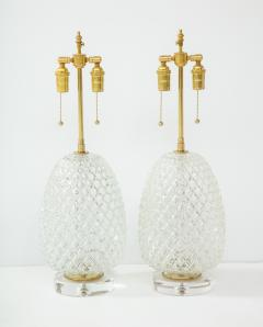 Pair of Large Cut Glass Pineapple Lamps - 1826490
