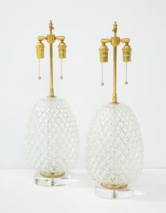 Pair of Large Cut Glass Pineapple Lamps - 1826492