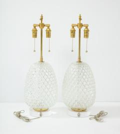 Pair of Large Cut Glass Pineapple Lamps - 1826499