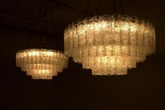 Pair of Large Doria Ice Glass Flush Mount Chandelier Germany 1960s - 822431