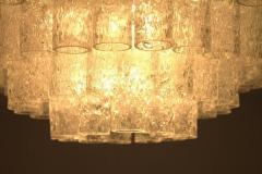 Pair of Large Doria Ice Glass Flush Mount Chandelier Germany 1960s - 822432