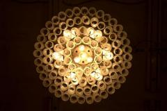 Pair of Large Doria Ice Glass Flush Mount Chandelier Germany 1960s - 822435