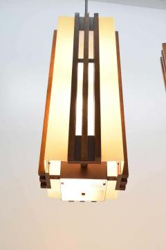 Pair of Large Frank Lloyd Wright Style Chandeliers Pendants - 1271691