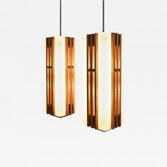 Pair of Large Frank Lloyd Wright Style Chandeliers Pendants - 1273318